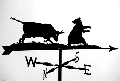 Bull and Bear weather vane