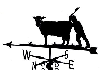 Cow with Farmer weather vane