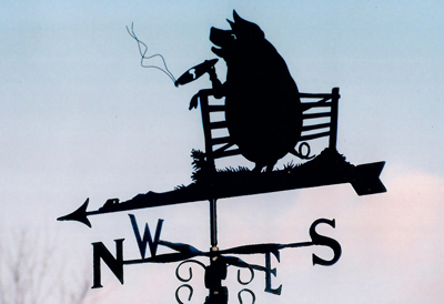 Pig smoking Cigar weathervane