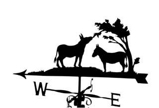 Donkeys with trees weather vane