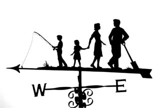 Family with boy fishing weathervane