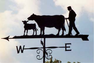 Farmer cow and calf weathervane