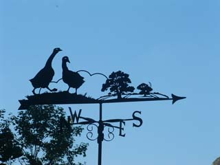 Geese in country weather vane