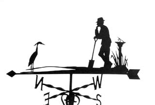 Man sundial and Heron weathervane