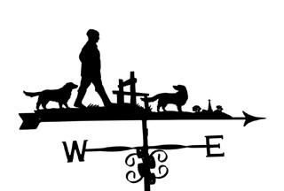 Man two dogs and stile weather vane