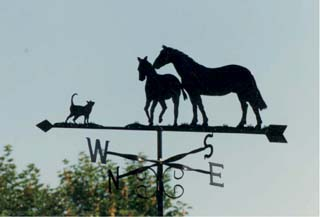 Mare Foal and Cat weather vane