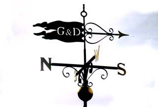 Pennant with Gold Leaf and Ball weathervane