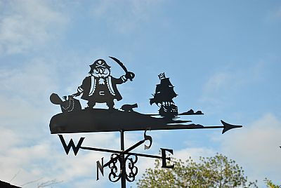 Captain Pugwash in copper weather vane