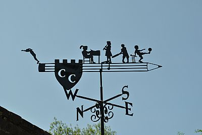 Children on pencil weathervane