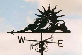 thoughtful sun weathervane