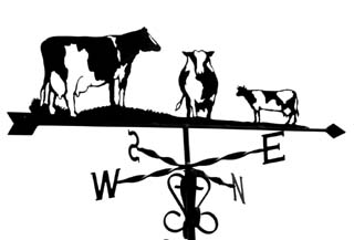 Three Friesian cows weathervane