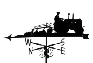 Tractor ploughing weather vane