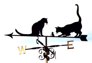 2 cats and mouse weather vane