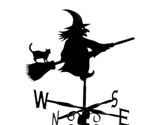 Witch on Stick weather vane